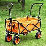 ChengBeautiful Carro De Jardín Camping Coche portátil Plegable Carretilla al Aire Libre Cuatro Ruedas Carretilla de Compras Carro de Pesca carretas (Color : Orange, Size : 100cm)