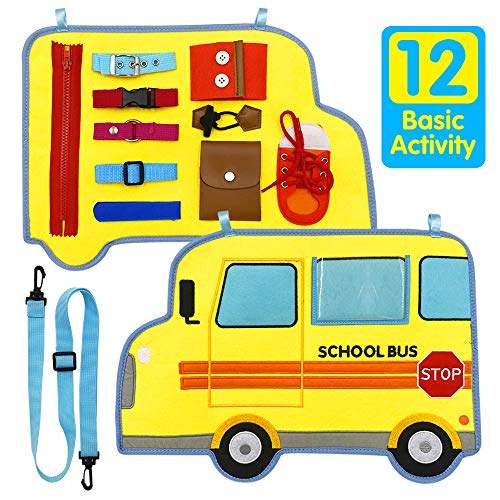 Jantens Toddler Busy Board, Fine Motor Toys (12 Basic Skills), School Bus Style Motor Skills Toys...