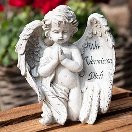 Kamelio Engel mit Spruch auf dem Flügel Trauerengel Grabschmuck Engelsfigur Gabriel