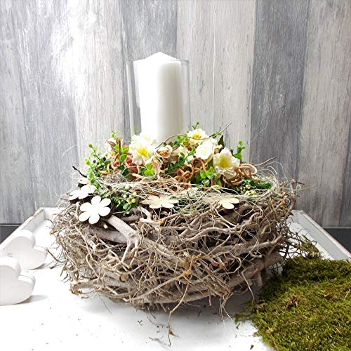 Tischgesteck, Frühlingsgesteck, Windlicht, natur Töne, Gesteck
