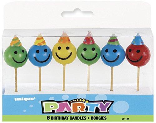 Unique Party 71185 Geburtstagskerzen - Smiley-Gesicht - Verschiedene Farben - Packung mit 6 Stück
