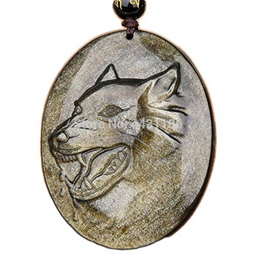 LeiLei Collar con Colgantes de Amuleto de Cabeza de Lobo Tallado a Mano de Piedra de obsidiana de Oro Natural Caja Predeterminado