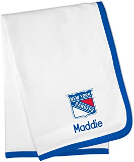Designs by Chad and Jake Personalized New York Rangers Baby Blanket (Officially Licensed) Ultra Soft, Warm Comfort   Receiving Swaddle for Newborn Boy or Girl   Portable, Stroller Friendly