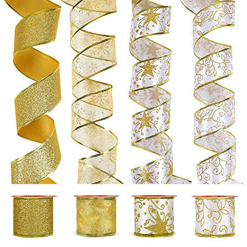 LIHAO 4 Rollos de Cinta Navideña Cinta de Seda Brillante para Decoración del Árbol de Navidad Envoltura de Regalos (4 Estilos)