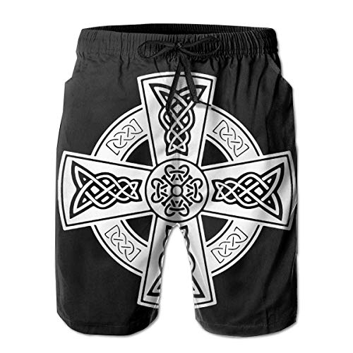 Celtic Cross Ancient Celtic Symbols Mens Swim Trunks Quick Dry Waterproof Beach Pants Beach Board Shorts with Pockets White
