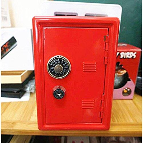 IPOTCH Caja Fuerte De Hucha De 18 Cm Organizador Metálico Cajas Dobles De Seguridad Llaves De Plata - Rojo