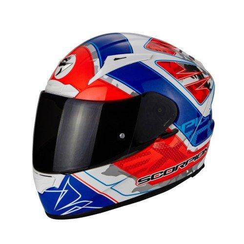SCORPION Casque Motocorpion EXO 2000 EVO AIR Brutus, Blanc/Bleu/Rouge, Taille M