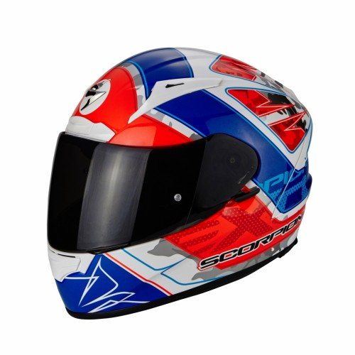 Scorpion Casco Moto EXO-2000 EVO AIR Brutus, Pearl White/Neon Red/Blue , L