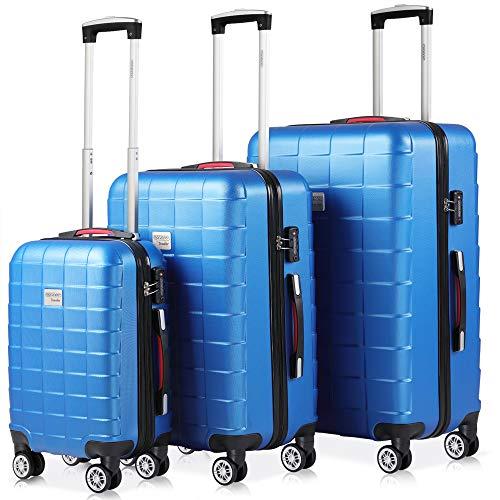 Monzana Exopack 3er Set Koffer | Blau M, L, XL | TSA Schloss, Gel-Griff | Reisekoffer Rollkoffer Hartschale Trolley