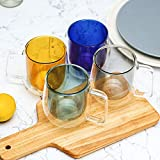 Glass Coffee Mugs 10oz Set of 4 - Gift Wraped Double Walled Insulated Drinking Glassware Coffe Cups with Handle for Cold and Hot Espresso,Coffee,Tea, Gift for Women,Mixed Color