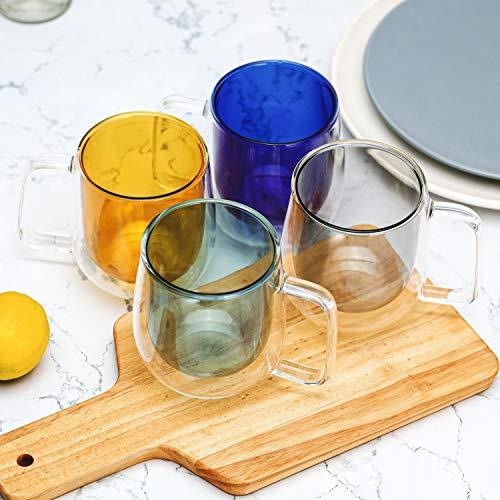 ガラスコーヒーマグカップ 10オンス 4個セット - ギフト包装 二重壁断熱ドリンクグラス コーヒーカップ 冷たいエスプレッソ/コーヒー/紅茶/女性へのギフトに ミックスカラー