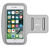 MoKo Phone Armband, Water Resistant Running Cell Phone Armband with Key Holder Adjustable Band Compitable with iPhone 11 Pro, X, Xs, 8, 7, 6, 6s, 5s, 5c, SE, 5, 4S,4 for Walking Fitness, Silver