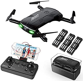 Drone with Camera Live Video, RC Quadcopter Pocket Drone with 3 Batteries Easy to Fly for Beginners 2.4G 6-Axis Headless Mode Altitude Hold One Key Return 3D Flip/Roll App Control WiFi FPV 2MP 720P HD