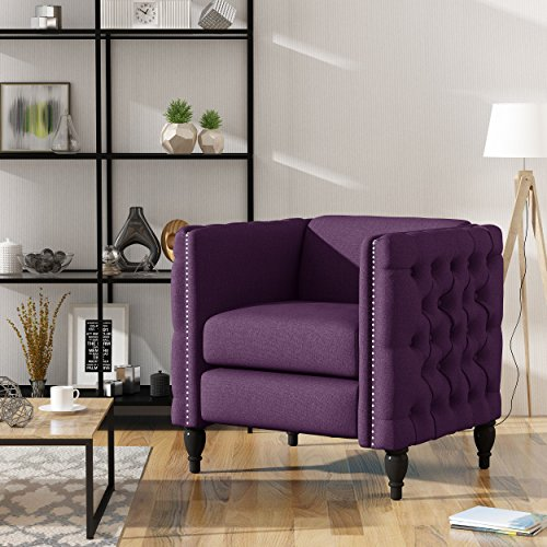Christopher Knight Home Alice Modern Tufted Fabric Arm Chair, Purple, Dark Brown