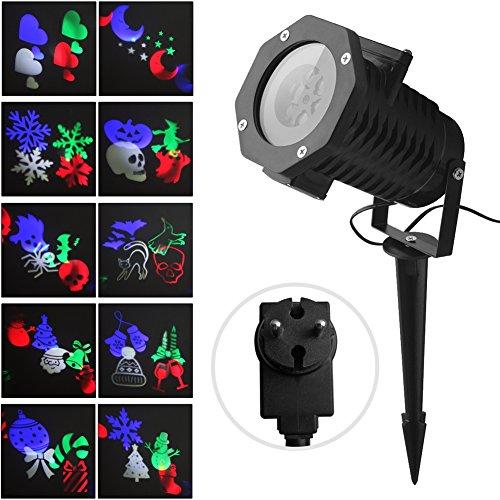 Projecteur LED Extérieur et Intérieur Fochea IP44 Projecteur d'Images avec 10 Motifs Décor Jardin Chambre pour...