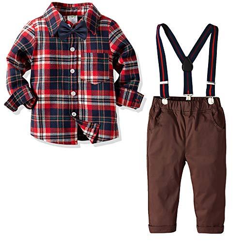 Nwada Herbst Kinder 2pcs Kleidungssätze Kleine Jungs Weihnachtskleidung Rot Gitter Hemd Oben + Gentleman Suspenders Denim Hose 7 Jahre
