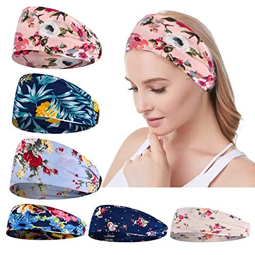 Headbands for Women Workout Hair Bands - 6 Pack Women Headbands Workout Wide Boho Hair Bands Girls Floral Style Bandana Yoga Running Head Wraps Turban Accessories Gifts