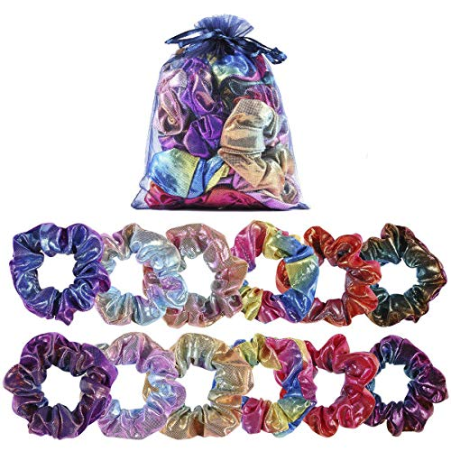 Shiny Metallic Scrunchies, Women Girls Mermaid Hair Scrunchie Elastics Ponytail Holder for Gym Dance Party Club(12 Pieces)