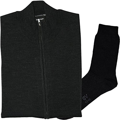 OLYMP Strick Cardigan Strickjacke Zipper-Jacke - Merinowolle, anthrazit + 1 Paar hochwertige Socken, Bundle