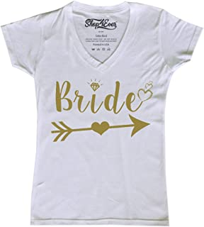 Bride Gold Heart Arrow Women's V-Neck T-Shirt Wedding Shirts Slim FIT