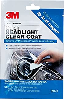 3M Quick Headlight Clear Coat, Extreme UV Protection Prevents Lens Yellowing, 1 Sachet
