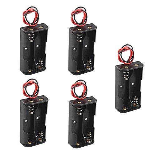 HALJIA, custodia in plastica per 2 batterie AA, 2 x AA, 3 V, con cavi, 5 pezzi