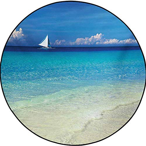 Nautical Polyester Girls Room Rugs Bedrooms Laundry Room Decor Exotic Tropic Beach in Philippines Island Horizon Summer Paradise Concept Turquoise Cream 4.5 ft in Diameter