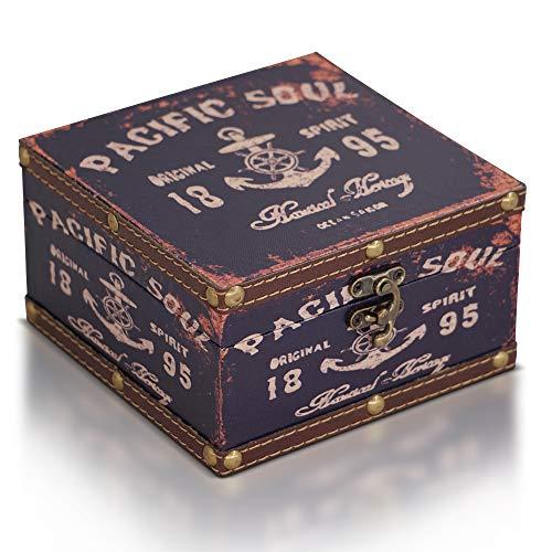 Brynnberg Caja de Madera 15x15x9cm - Cofre del Tesoro Pirata de Estilo Vintage -...
