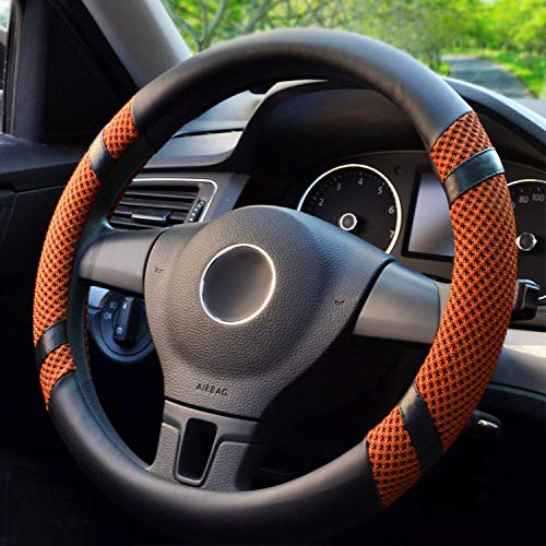 BOKIN Steering Wheel Cover, Microfiber Leather and Viscose, Breathable, Anti-Slip, Odorless, Warm in Winter and Cool in Summer, Universal 15 Inches (Orange)