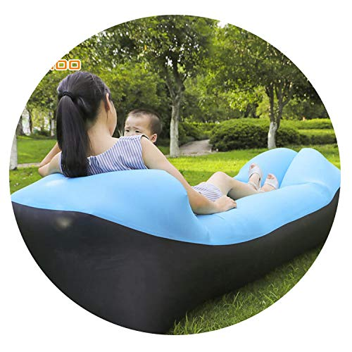Trend Outdoor Products Infaltable Air Sofa Bed Sleeping Bag Inflatable Air Bag Lazy Bag Beach Sofa Laybag,Black and SkyBlue