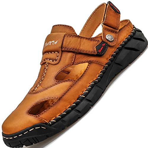 GILKUO Sandalen Herren Leder Clogs Sommer Pantoletten Geschlossen Hausschuhe Outdoor Sandalen Klettverschluss Sport Outdoorsandalen Braun Größe 42