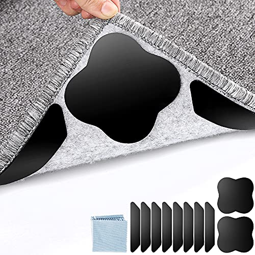 Rug Grippers for Area Rugs, No Skid Rug Grippers for Carpet 10 Pieces, Carpet Gripper for Area Rugs, Rug Tape for Anti Curling Corner Carpet Renewable Adhesive Rug Corner Grippers
