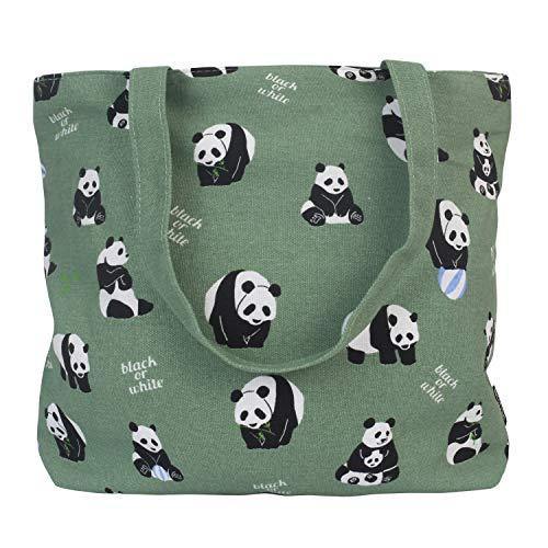 Womens Cute Panda Canvas Shoulder Tote Bag with Zipper Animal Print Handle Bag Shopping Bag 14 X 13 Inch (Panda)