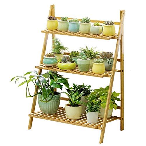 Support d'échelle de pot de fleur de 3 étages, support de fleur pliable multicouche de bois plein, support de plante de balcon de salon