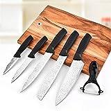 Ergonomia Metti il coltello Acciaio inossidabile 6pcs Coltelli da cucina Set frutta di sbucciatura Utility Santoku Chef affettare il pane Coltello da cucina Damasco (Color : 6pcs Kitchen Knives)