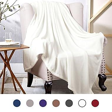 Bedsure Flannel Fleece Luxury Blanket White Throw Lightweight Cozy Plush Microfiber Solid Blanket