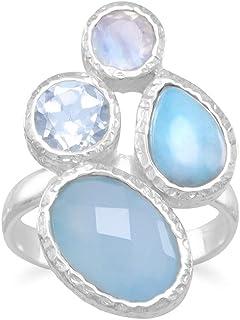 Plata de Ley con textura Multishape piedra anillo–tamaño N 1/2