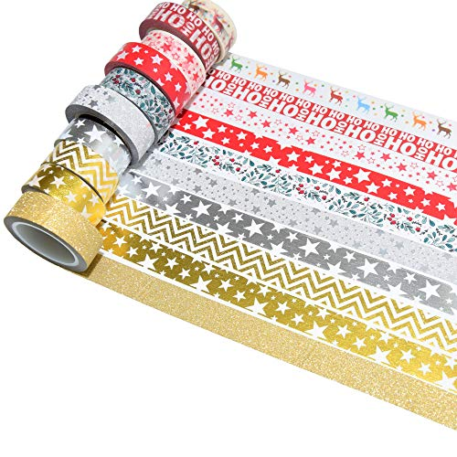 k-limit 10 Set Washi Tape Rotoli di Nastro Adesivo Masking Tape Scrapbooking DIY Natale Christmas Idee Regalo 9158