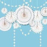 CASA DECRO 冬 ワンダーランド スノーフレーク パーティー デコレーション ハンギング ホワイト ペーパー ファン 目玉 スノーフレーク ガーランド バナー 装飾 冷凍 誕生日 クリスマスツリー 新年 ベビー シャワー 結婚式 パーティー 用品用