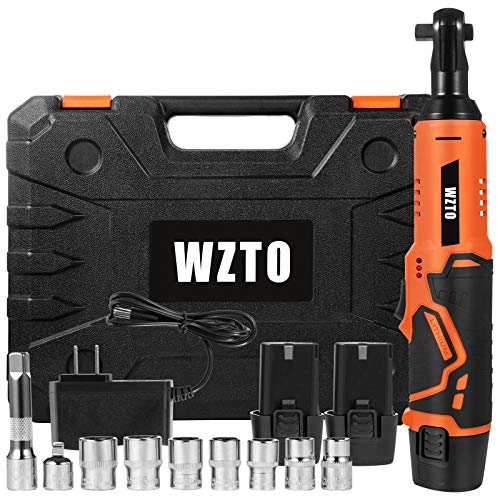 Cordless Electric Ratchet Wrench, WZTO 3/8' 61N.m 12V LED Power Ratchet Wrench. 450RPM Battery Ratchet Wrench w/ 2-Pack 2.0Ah Lithium-Ion Batteries, 7 Sockets, 1-Piece 1/4'Socket Adapter, Fast Charger