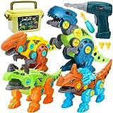Dreamon Montage Dinosaurier Spielzeug für Kinder mit Aufbewahrungsbox Elektrische Bohrmaschine, DIY Baustelle Spielzeug Geschenke für Jungen Mädchen