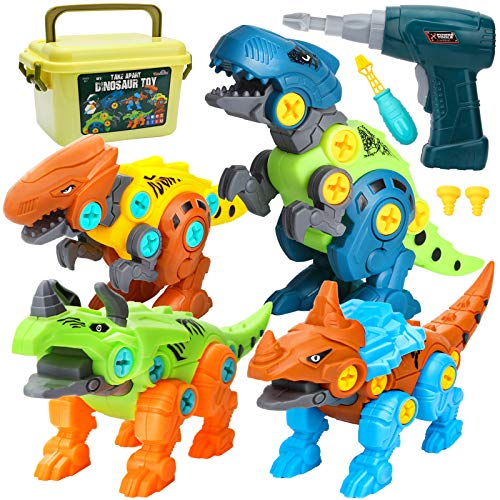 Dreamon Take Apart Dinosaur Toys for Kids 5-7 - Dino Building Toy Set for Boys and Girls with Electric Drill Strorage Box - Construction Play Kit Stem Learning Gifts for Kids