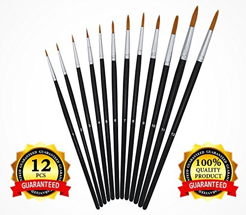Paint Brush Set - Round Pointed Tip Nylon Hair - Short Handle - Paint Brushes Art Set for Acrylic Watercolor Oil Gouache Tempera. Artist Paint Brushes for Kids Student Artist or Hobbyist - 12 Pieces