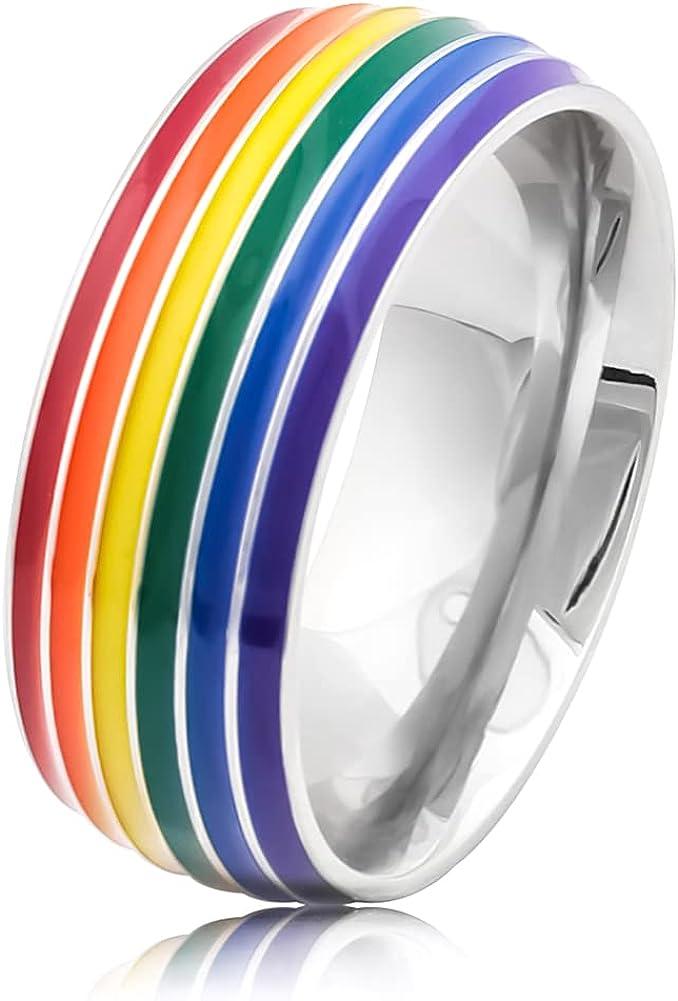 Warvik Pride Ring Rainbow Flag Lesbian Gay Bisexual Transgender, Stainless Steel Jewelry Mens Womens 7/8/9/10/11/12/13