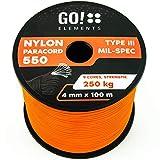 GO!elements 100m Paracord de Nylon a Prueba de desgarros - 4mm Paracord 550 Typo III Cuerda - Adecuado como Cuerda Yute & Cuerda Gruesa | MAX. 250kg, Color:Naranja