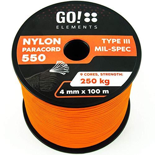 GO!elements Paracord 100 Metri da Corda Nylon - 4mm Paracord 550 Originale Typ III - Adatto Come Corda Militare & Corda per Altalena | Max. 250kg, Color:Arancia