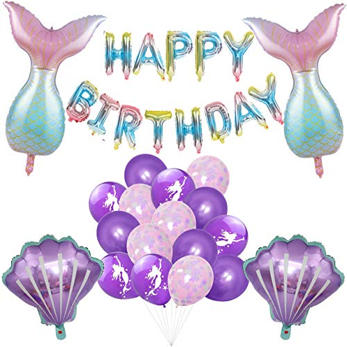 Meerjungfrau Thema Party Dekoration, BESTZY 20 Stücke Meerjungfrau Schwanz Luftballons Meerjungfrau Folien Ballons Happy Birthday Girlande Luftballons für Meerjungfrau Meer Thema Party