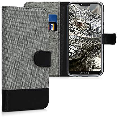 kwmobile Hülle kompatibel mit Motorola Moto G7 Power - Kunstleder Wallet Hülle mit Kartenfächern Stand in Grau Schwarz