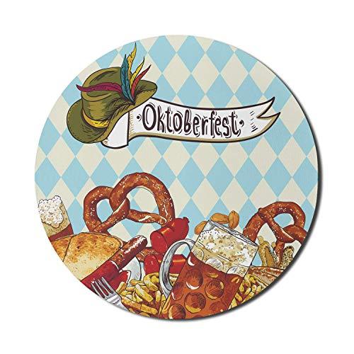 Oktoberfest Mauspad für Computer, Brot Brezel Karneval Party Deutschland Kostüm Fröhliche Festival Illustration, Runde rutschfeste dicke Gummi Modern Gaming Mousepad, 8 'rund, mehrfarbig