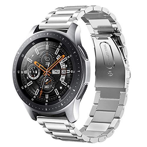 iBazal 22mm Cinturino Metallo Banda Acciaio Compatibile con Samsung Gear S3 Frontier Classic SM-R760,Galaxy Watch 46mm SM-R800, Huawei GT/2 Classic/Honor Magic,TicWatch PRO,Amazfit Stratos - Argento